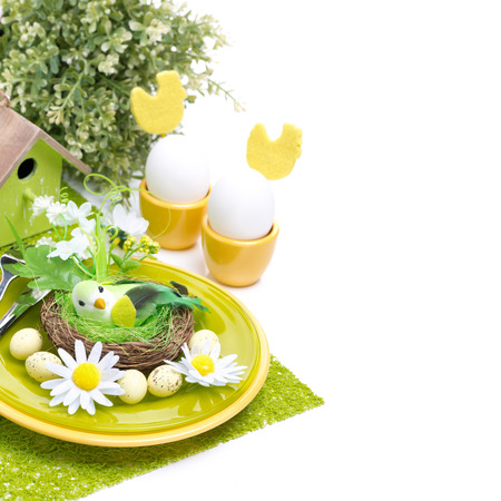 Festive Easter table setting, isolated on white photo