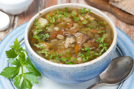 Mushroom soup with pearl barley, top view, horizontal photo