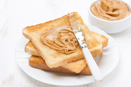 toast with peanut butter on a plate