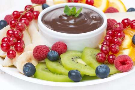 chocolate sauce, fresh fruit and berries, selective focus, close-up photo