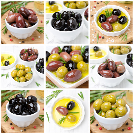 different kinds of olives, spices and olive oil, collage of nine photos photo