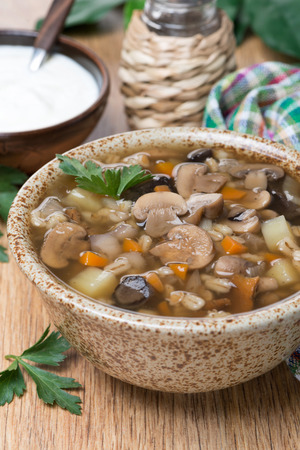 mushroom soup with pearl barley, vertical, close-up photo