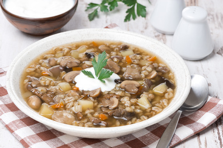 mushroom soup with vegetables and pearl barley, horizontal photo