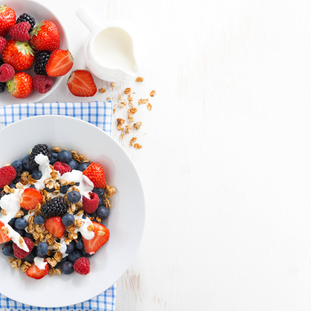 fresh berries, yogurt and homemade granola for breakfast and space for text, top view Standard-Bild