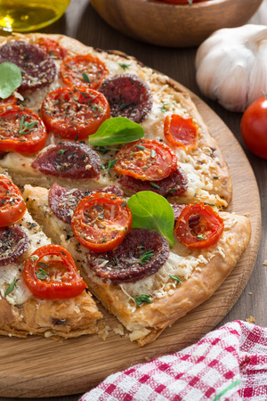 delicious pizza with salami and tomatoes on a wooden board, top view, vertical photo