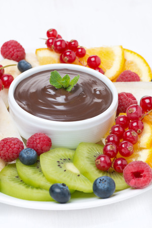 chocolate sauce, fresh fruit and berries, close-up photo