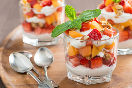 fruit dessert with whipped cream, mint and granola, close-up, horizontal
