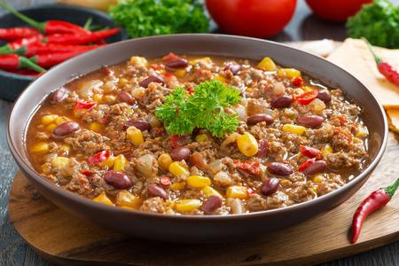 Mexican dish chili con carne, close-up