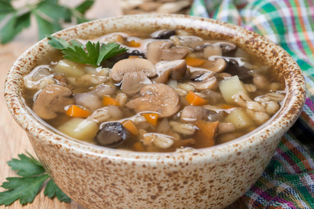 mushroom soup with pearl barley, close-up, horizontal photo