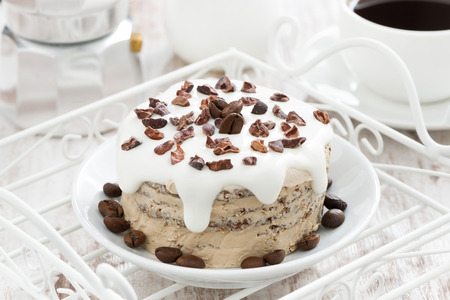 coffee cake with icing decorated with cocoa beans on a plate, horizontal Stock Photo