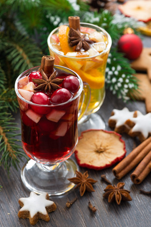 Christmas beverages, biscuits and spices, vertical, top view photo