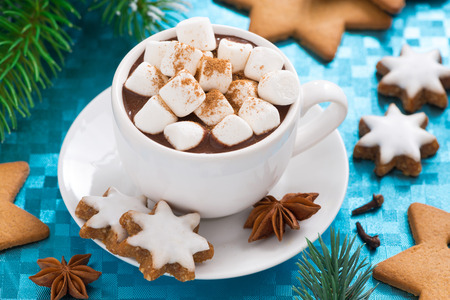 hot chocolate drink: hot chocolate with marshmallows on a blue background, top view, close-up