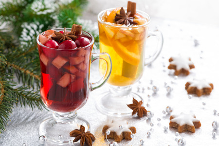 Christmas spicy mulled wine, apple cider and gingerbread cookies photo