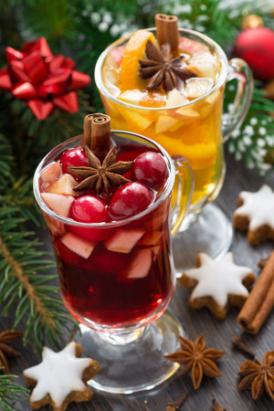 Christmas beverages, biscuits and spices, close-up, vertical, top view photo