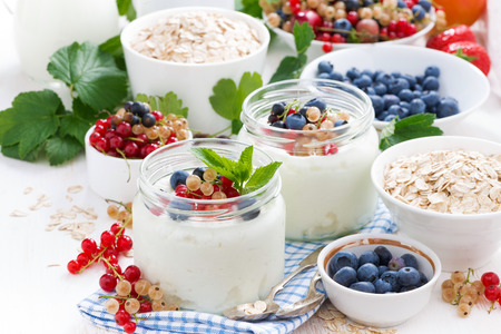 yogurt with berries and products for healthy breakfast, close-up