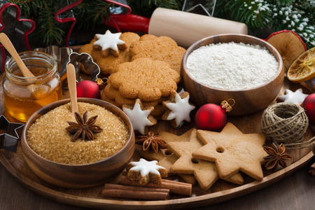 Christmas cookies and ingredients for baking, horizontal photo