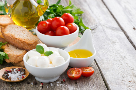 delicious mozzarella and ingredients for the salad on a wooden background, horizontal