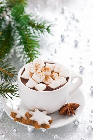 estrellas de navidad: chocolate caliente con malvaviscos y galletas de jengibre, verticales