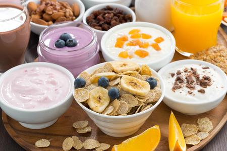 petit dejeuner: petit-d�jeuner buffet avec des c�r�ales, des yaourts et des fruits sur plateau en bois, gros plan, horizontal Banque d'images