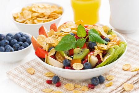 Leckeren Obst- und Beerensalat zum Frühstück, close-up, horizontal Standard-Bild - 36552212