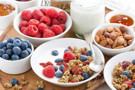 yogur: muesli casero con bayas frescas y yogur para el desayuno, primer plano Foto de archivo