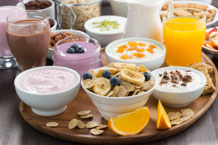 buffet: rich breakfast buffet with cereals, yoghurt and fruit, horizontal