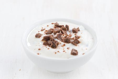 creamy: creamy yogurt with chocolate, close-up