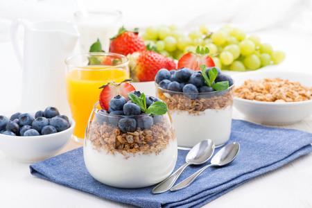 comiendo cereal: delicioso postre con crema, bayas frescas y muesli, horizontal Foto de archivo