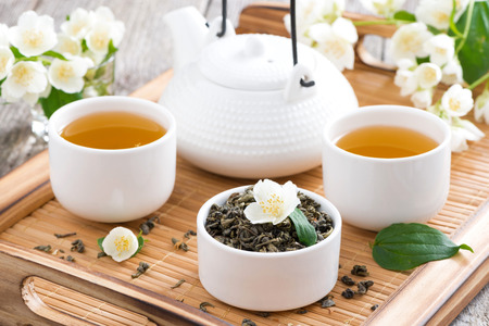 tea ceremony - green tea with jasmine, horizontal