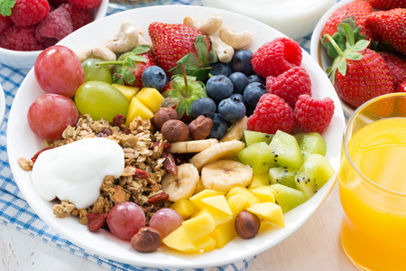 nuts: berries, fruits, nuts and granola on the plate for a healthy breakfast, close-up, top view, horizontal