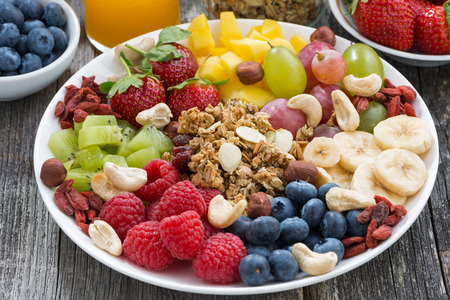 bio food: ingredients for a healthy breakfast - berries, fruit and muesli on wooden table, close-up, horizontal