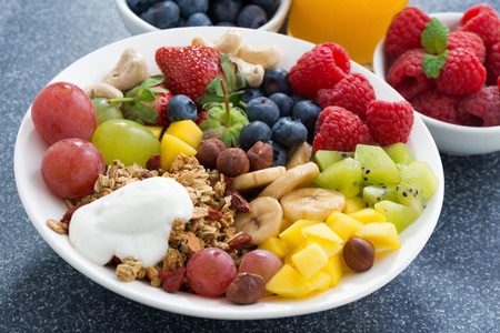 fresh foods for a healthy breakfast - berries, fruits, nuts and muesli, close-up, horizontal