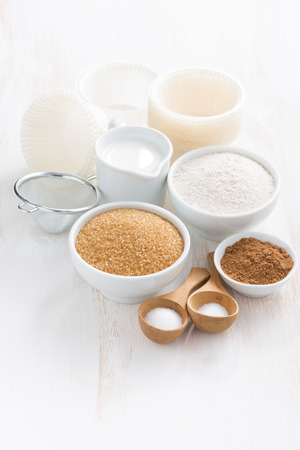 ingredients: Ingredients for baking muffins on white table Stock Photo