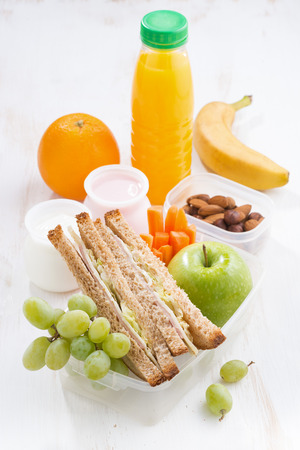 school lunch with sandwich, vertical, top view