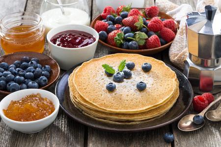 jams: crepes, fresh berries and jams, horizontal Stock Photo