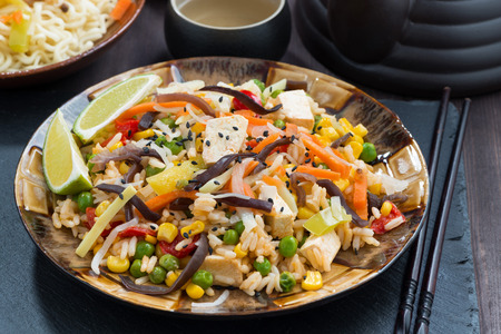 tofu: asian lunch - fried rice with tofu and vegetables on dark wooden table, close-up Stock Photo
