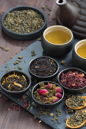 teas: assortment of fragrant dried teas and green tea, top view, vertical, close-up