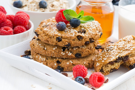 homemade oatmeal cookies for a healthy breakfast, close-up, horizontal Stock Photo