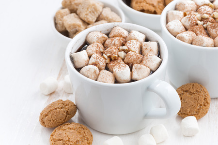 gingerbread cookie: two cups of cocoa with marshmallow and cookies, closeup