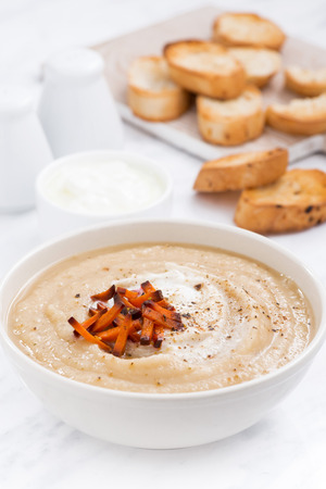 croutons: cream soup with caramelized carrots and croutons, vertical