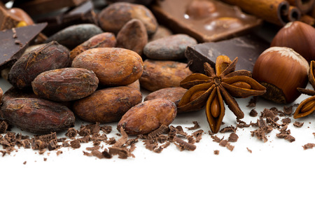 cocoa beans: background with cocoa beans, chocolate and spices, closeup, isolated on white