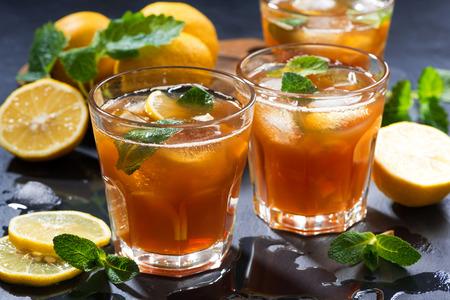 cool mint: cool mint iced tea, closeup, horizontal