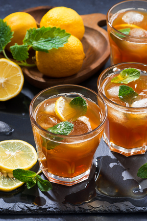 cool mint: cool mint iced tea in glasses, vertical