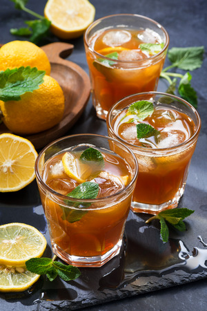 cool mint: cool mint iced tea in glasses, vertical, top view