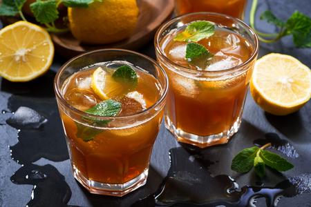 cool mint: cool mint iced tea, top view, horizontal