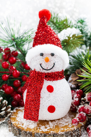 Christmas composition with snowman, vertical, closeup Stock Photo