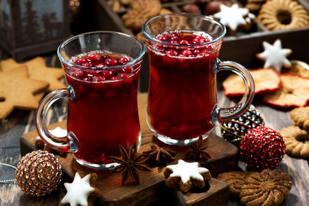 tea hot drink: Christmas drink hot cranberry tea and cookies, top view, horizontal
