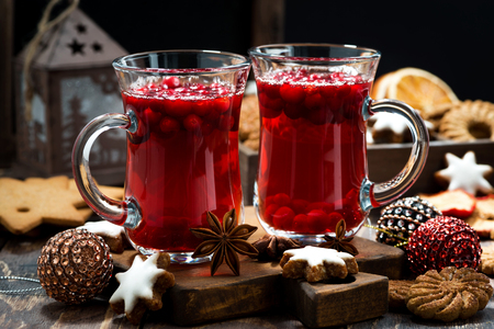 tea hot drink: Christmas drink hot cranberry tea and cookies, horizontal Stock Photo