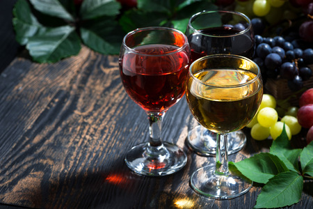 wine glasses on a wooden background, horizontal, top view