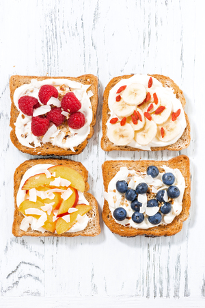 sweet toast with different toppings, vertical Stock Photo